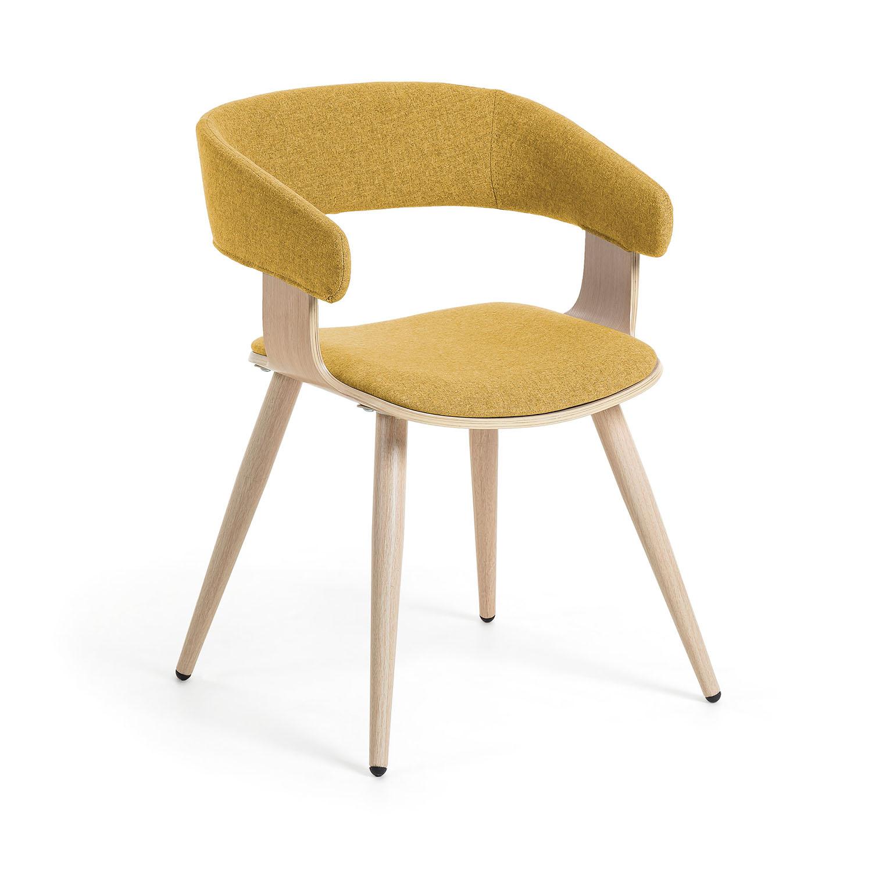 LAFORMA Heimann spisebordsstol m. armlæn - sennepsgul stof og natur laminat