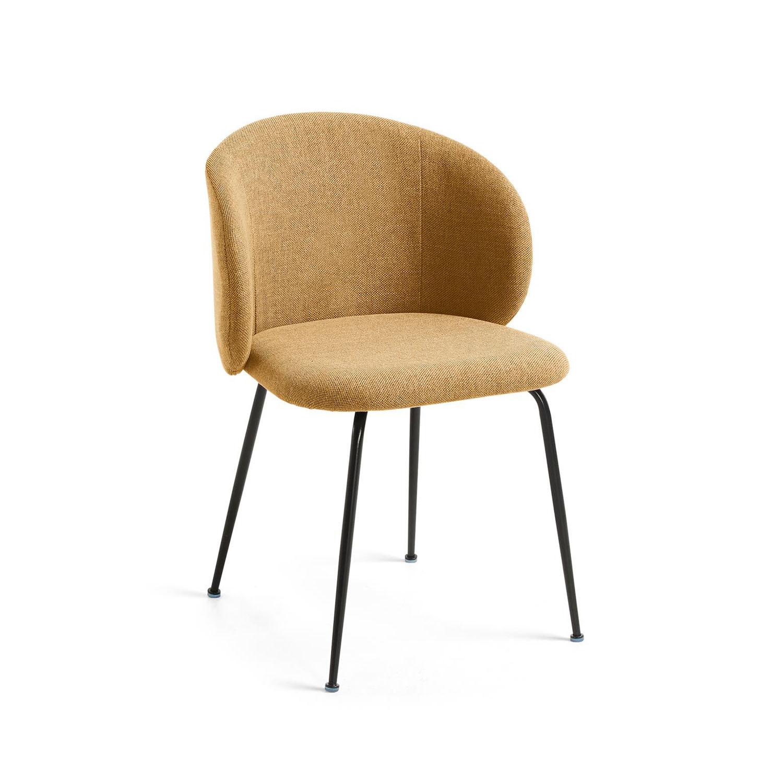 LAFORMA Minna spisebordsstol - sennepsgul stof og metal