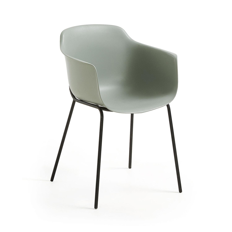 LAFORMA Khasumi spisebordsstol m. armlæn - grå plast og metal