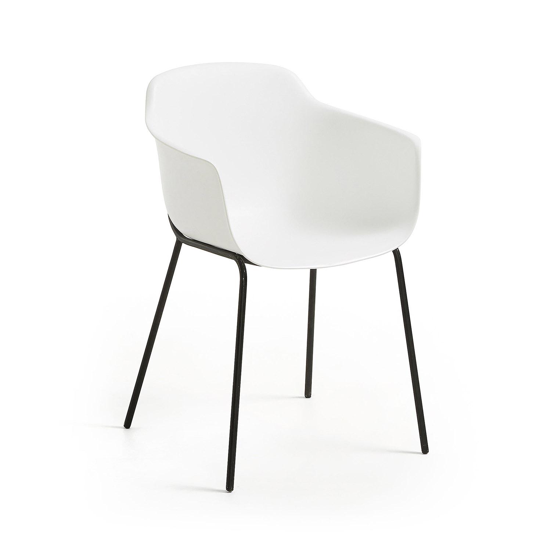 LAFORMA Khasumi spisebordsstol m. armlæn - hvid plast og metal
