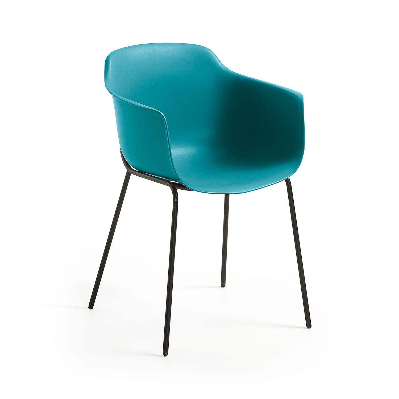 LAFORMA Khasumi spisebordsstol m. armlæn - mørkeblå plast og metal