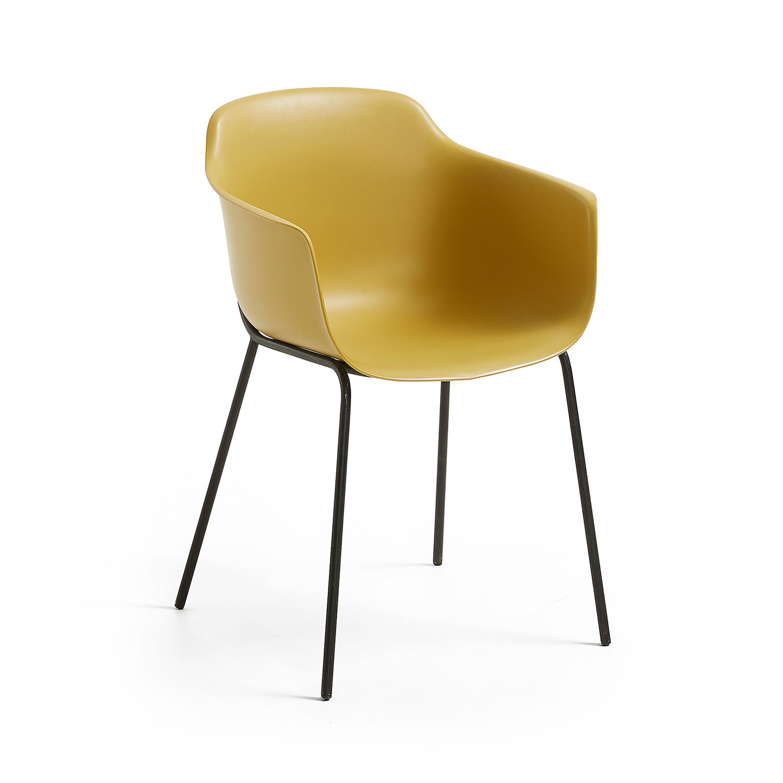LAFORMA Khasumi spisebordsstol m. armlæn - sennepsgul plast og metal
