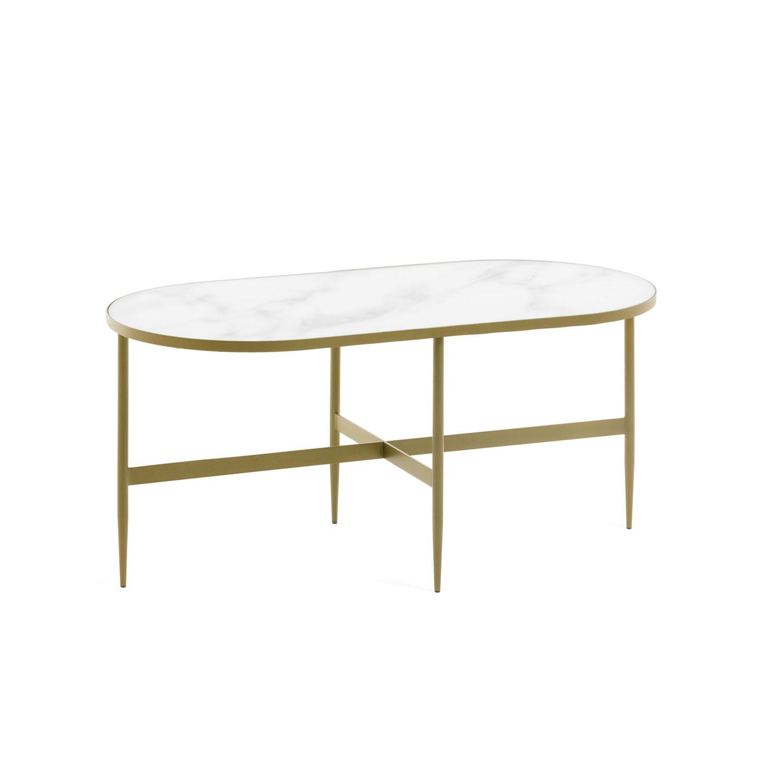 LAFORMA oval Elisenda sofabord - hvid glas og guld stål (100x50)