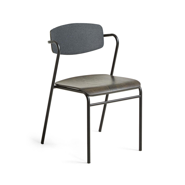 LAFORMA Norfort spisebordsstol m. armlæn - mørkegrå stof, sort metal og træ