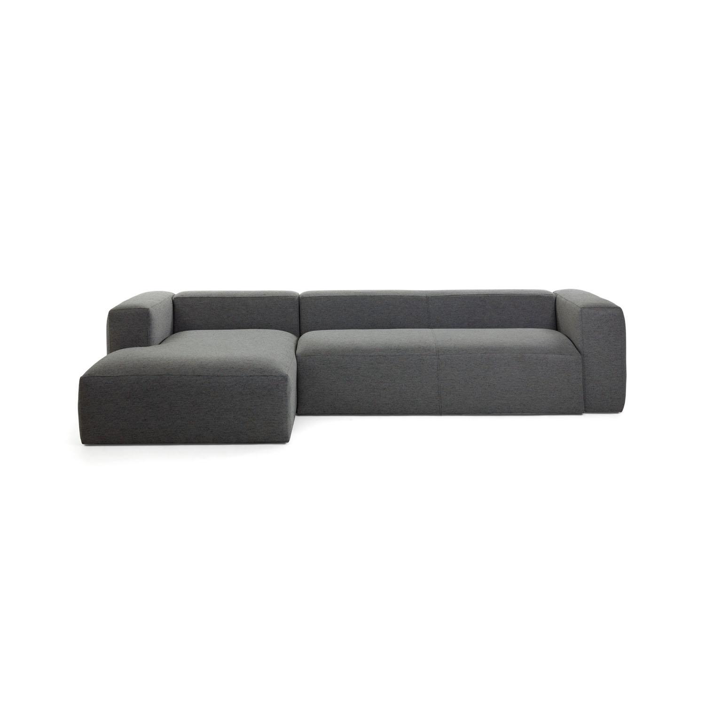 LAFORMA Blok 3 pers. sofa m. venstre chaiselong - mørkegrå stof
