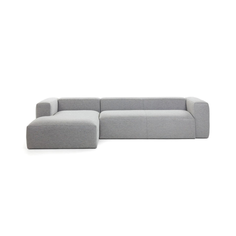 LAFORMA Blok 3 pers. sofa m. venstre chaiselong - lysegrå stof