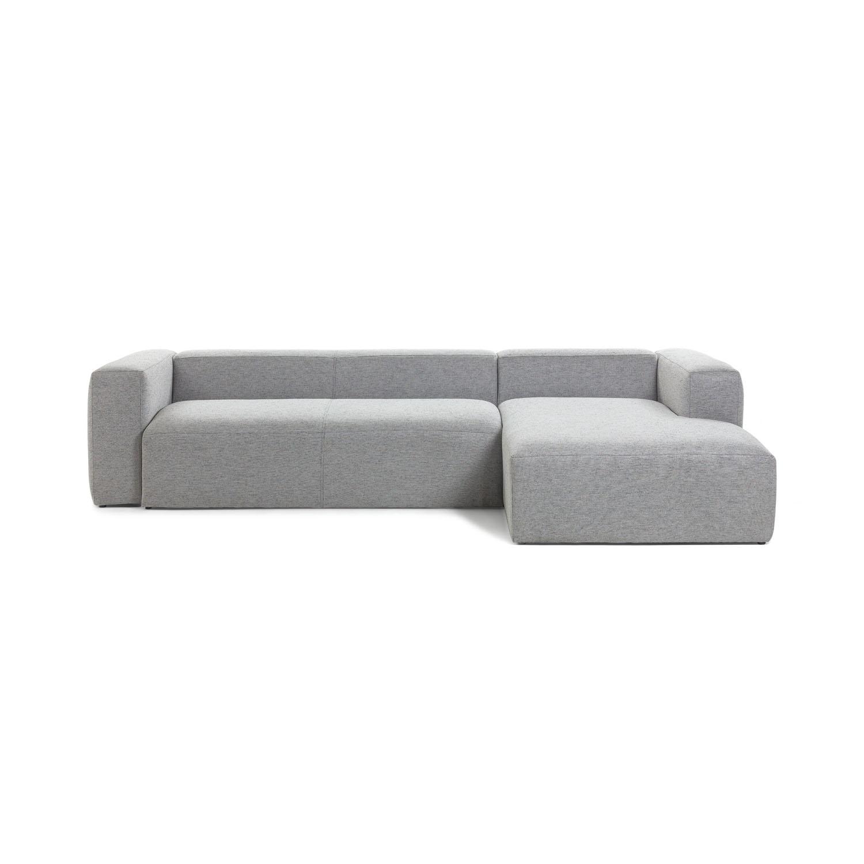 LAFORMA Blok 3 pers. sofa m. højre chaiselong - lysegrå stof