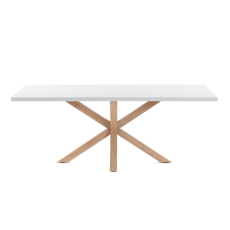 LAFORMA rektangulær Arya spisebord - hvid melamin natur stål (160x100)
