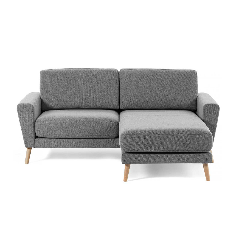 laforma Laforma guy 2 pers. sofa m. chaiselong - lysegrå stof og træ fra boboonline.dk