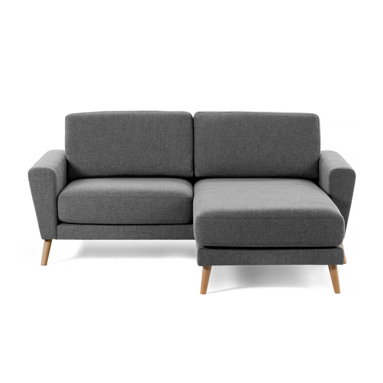 LAFORMA Guy sofa m. chaiselong - mørkegrå stof og træ