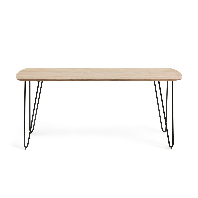 LAFORMA rektangulær Barcli spisebord - natur akacietræ og sort metal (200x95)