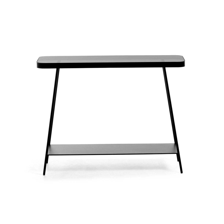 LAFORMA rektangulær Duilia konsolbord m. 1 hylder - sort glas og metal (110x85)