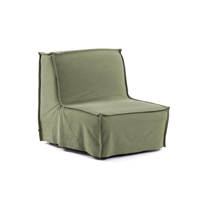 LAFORMA Lyanna sovesofa - grøn stof og metal (90x92-195)