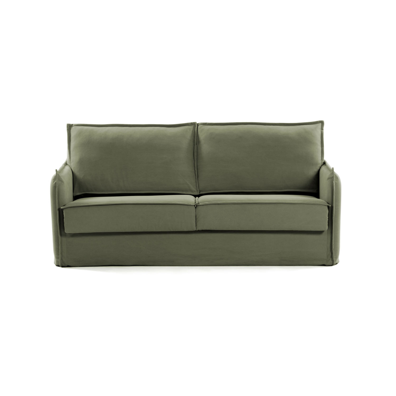LAFORMA Samsa sovesofa - grøn stof og metal (182x95-220)