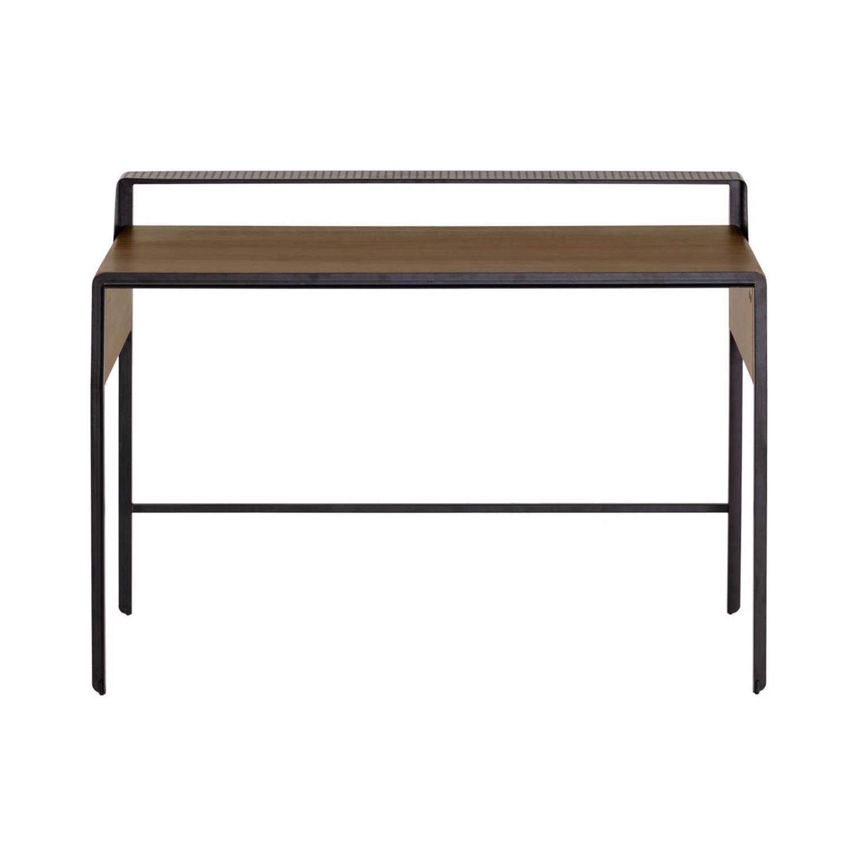 LAFORMA Nadyria skrivebord, m. hylde - brun valnøddefiner og sort stål (120x55)