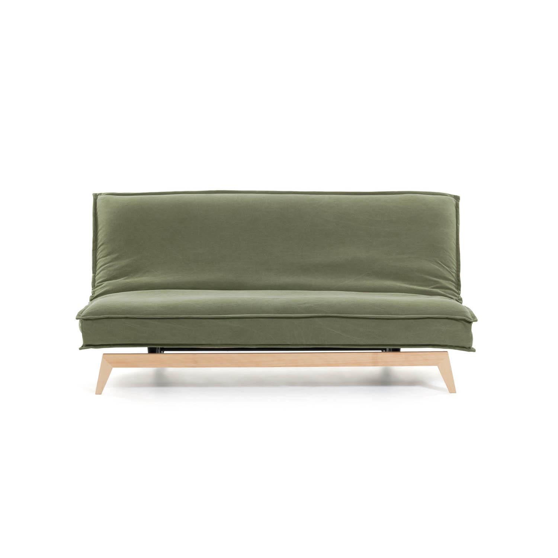 LAFORMA Eveline sovesofa - grøn stof, træ og metal