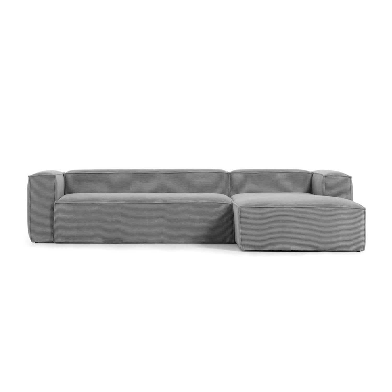 LAFORMA Blok 3 pers. sofa m. højre chaiselong - grå fløjl