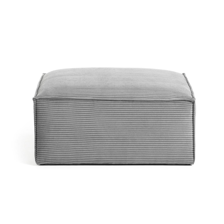 LAFORMA rektangulær Blok puf - mørkegrå fløjl (90x70)