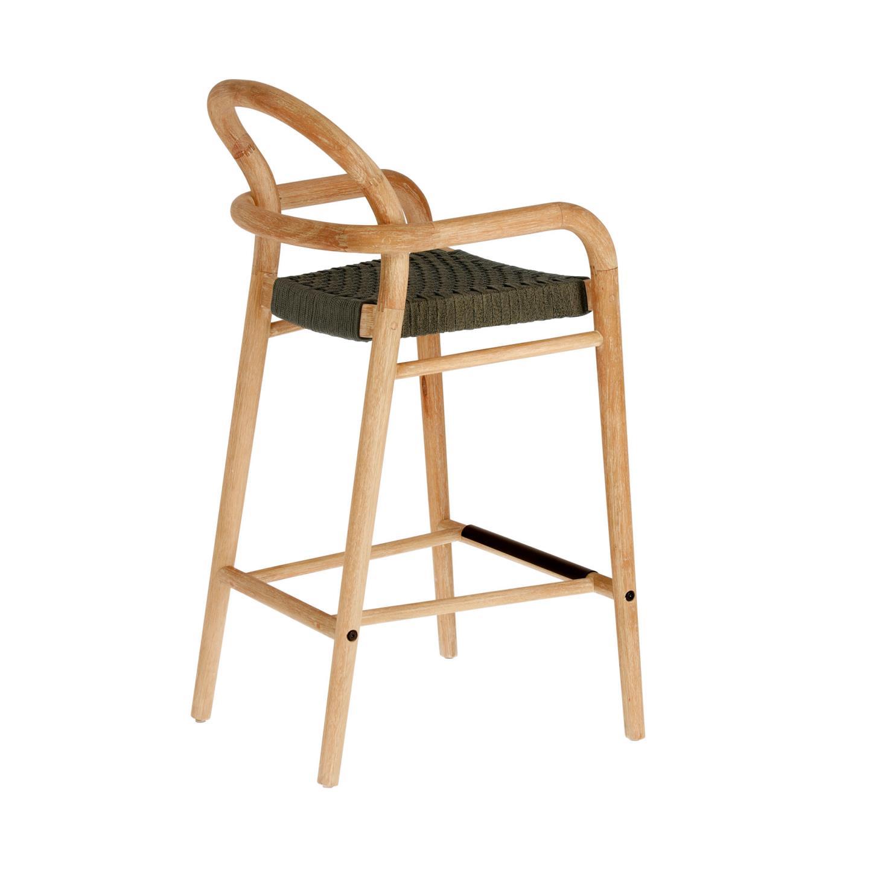LAFORMA Green Sheryl barstol til haven, m. armlæn, ryglæn og fodstøtte natur eukalyptustræ (69cm)