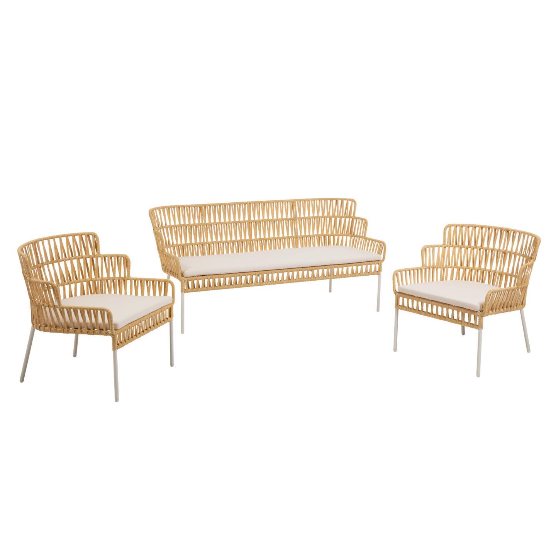 laforma Laforma robyn sofa og 2 lænestole, m. stofhynder - sennepsgul stål på boboonline.dk