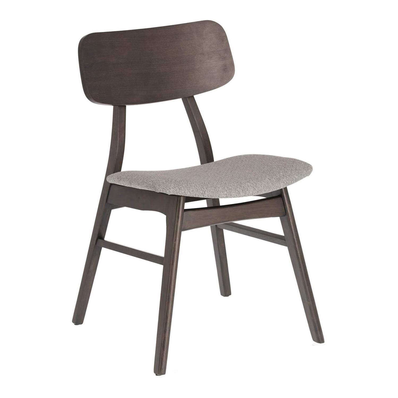LAFORMA Selia spisebordsstol - lysegrå stof, mørkebrun asketræsfiner og gummitræ