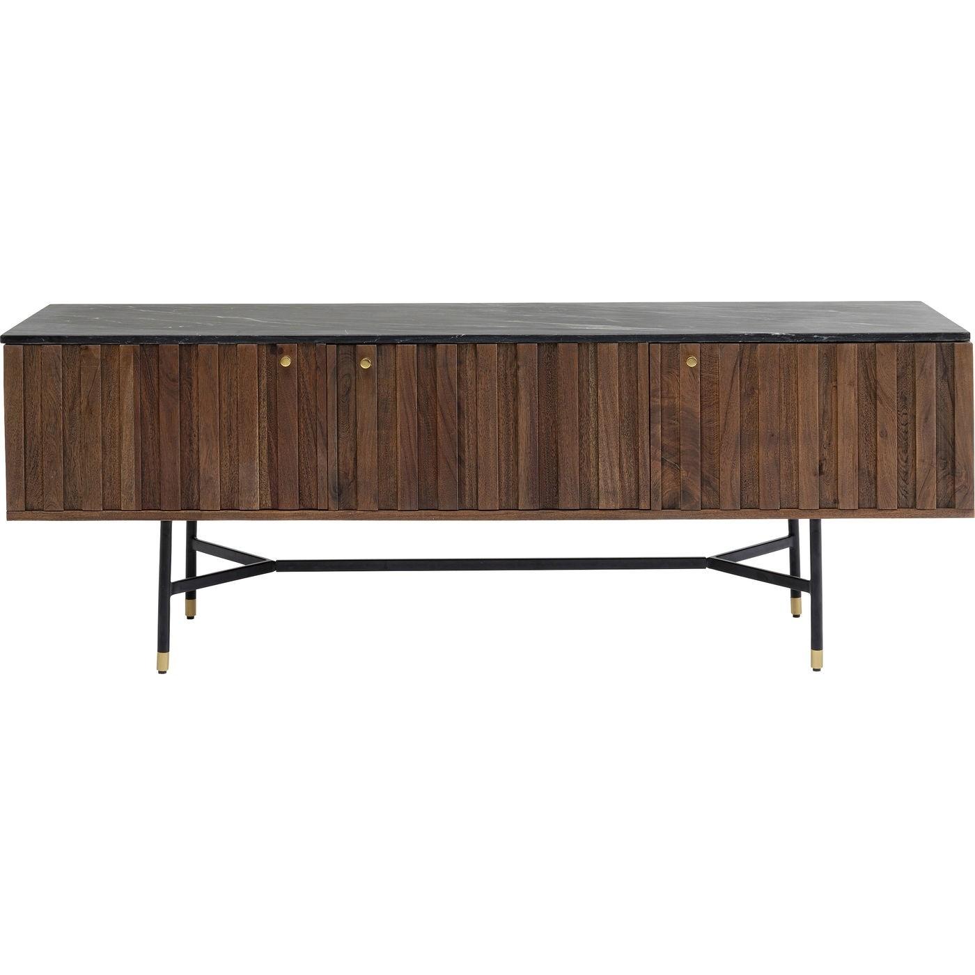 KARE DESIGN Apiano TV-bord, m 3 låger - brun akacietræfiner, sort marmor og stål (150x40)