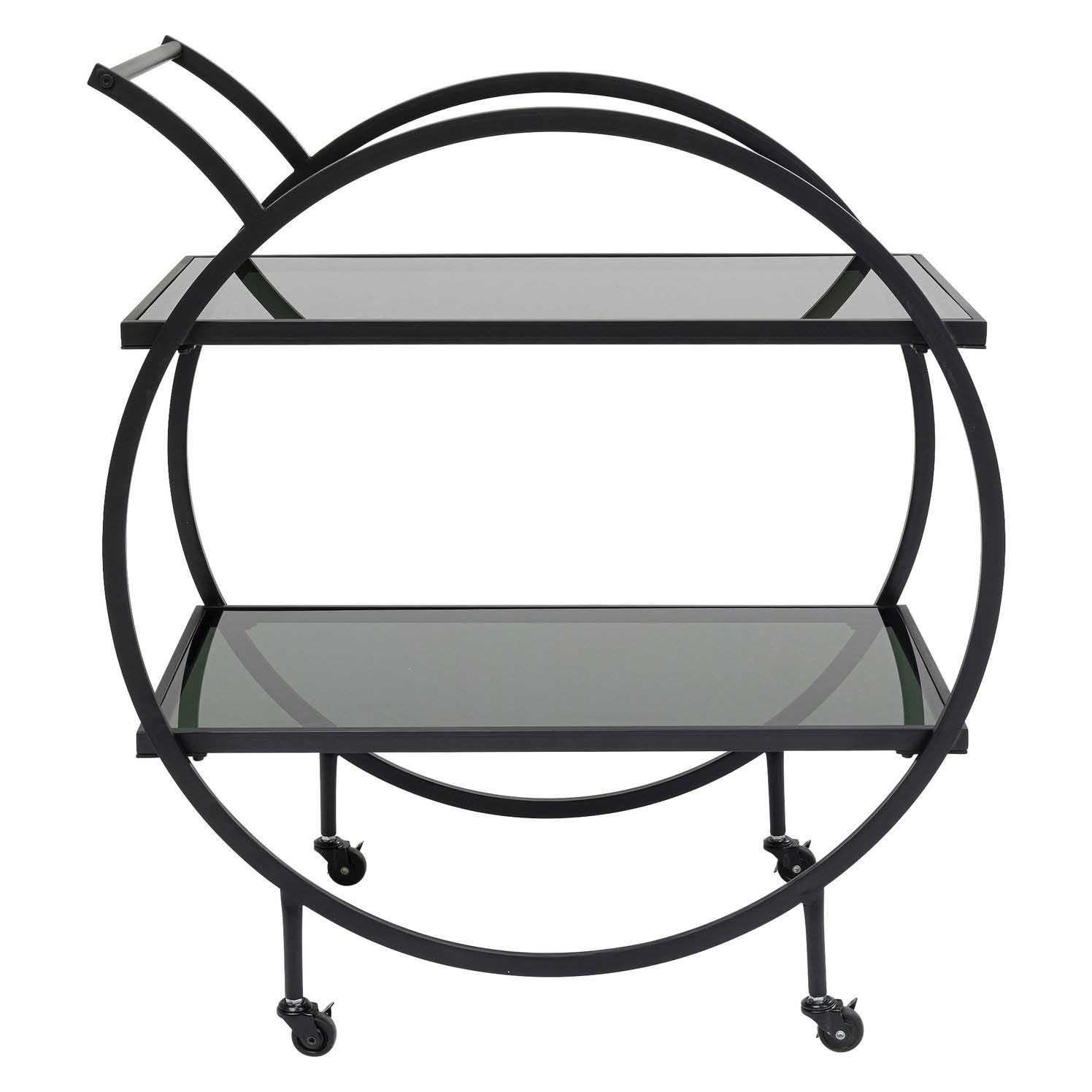 KARE DESIGN Loft Black rullebord, m. hylde - sort glas og stål