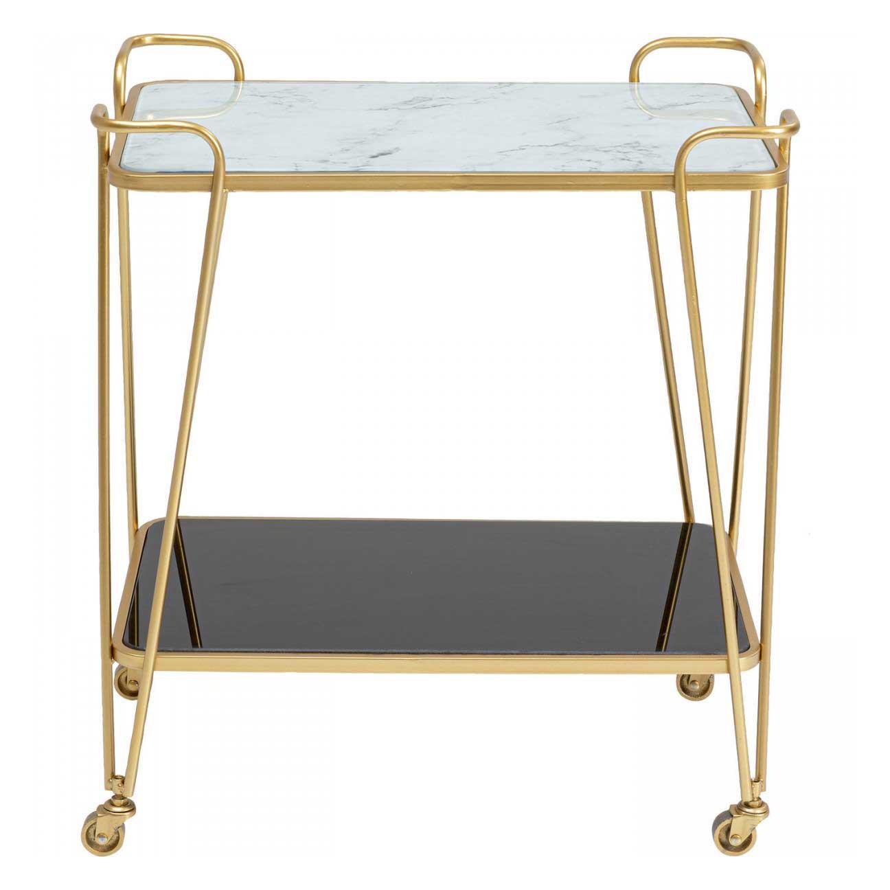 KARE DESIGN rektangulær West Coast rullebord, m. hylde - hvid og sort glas samt guld stål