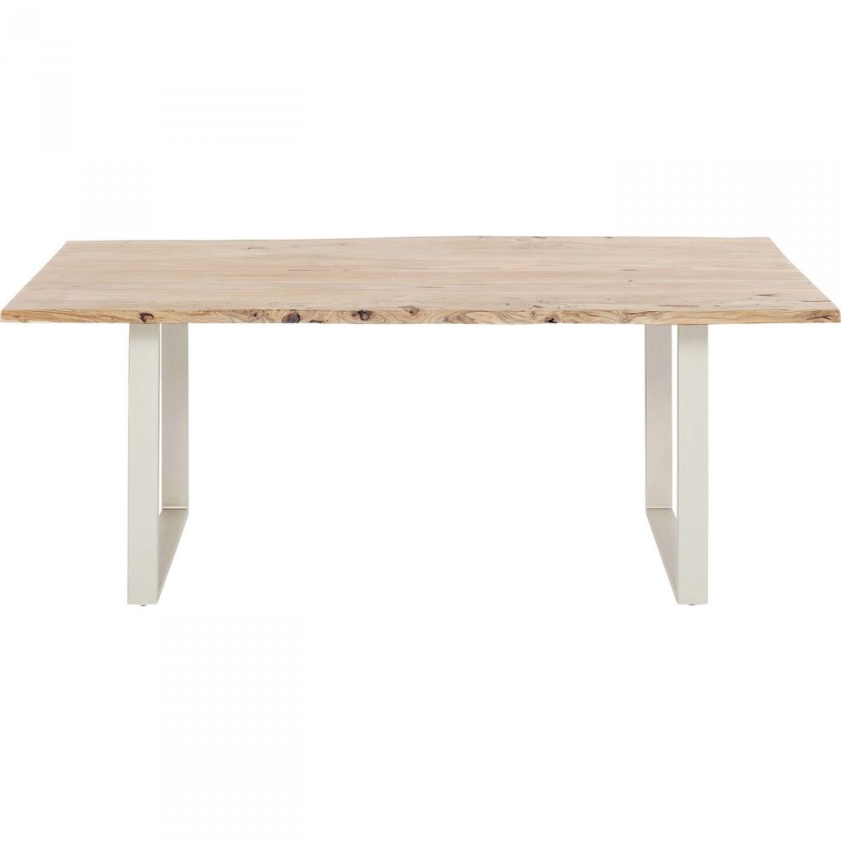 KARE DESIGN rektangulær Harmony Dark Brass spisebord - natur akacietræ og messing stål (200x100)