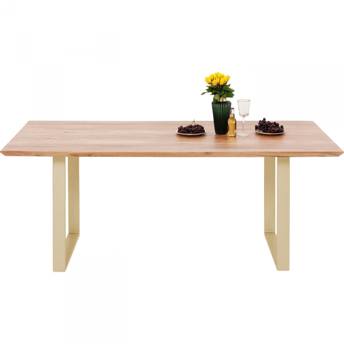 KARE DESIGN rektangulær Symphony Brass spisebord - natur træ og messing stål (200x100)