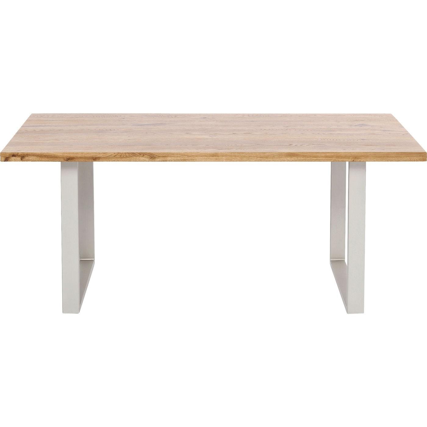 KARE DESIGN rektangulær Jackie Oak Silver spisebord - natur egetræ og sølv stål (160x80)