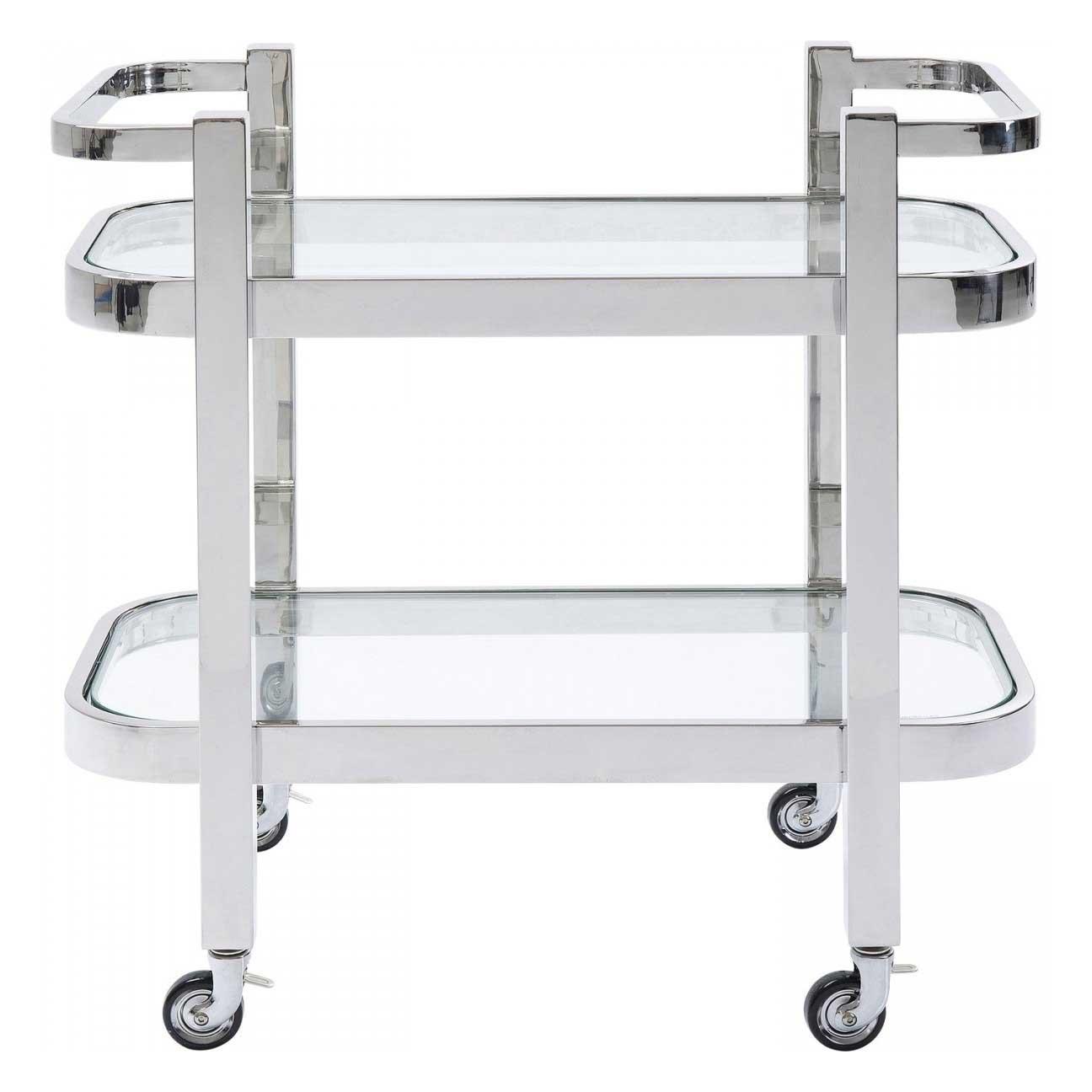 KARE DESIGN rektangulær Daydrinking rullebord, m. hylde - glas og sølv stål