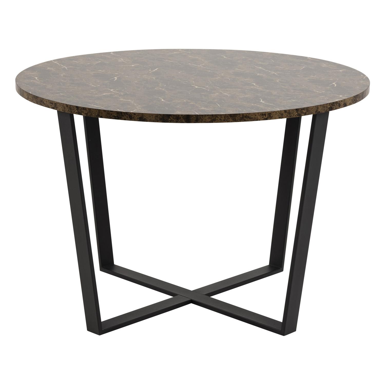 Amble rund spisebord - brun melamin og sort metal (Ø110)