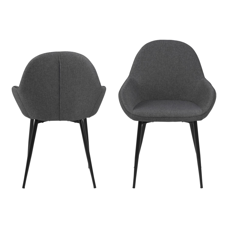 Candis spisebordsstol m. armlæn - grå stof og sort metal