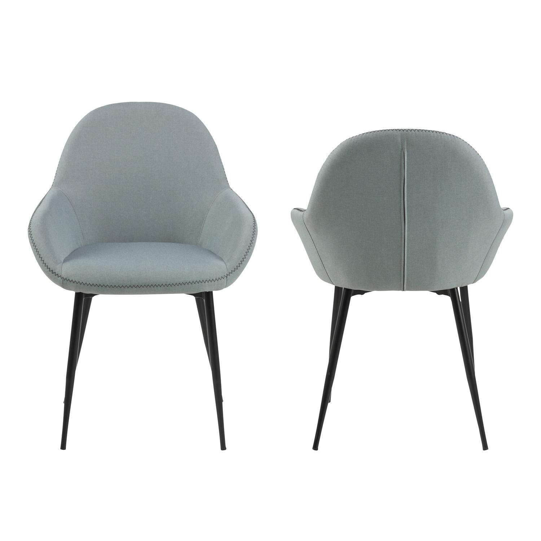 Candis spisebordsstol m. armlæn - støvet grøn stof og sort metal