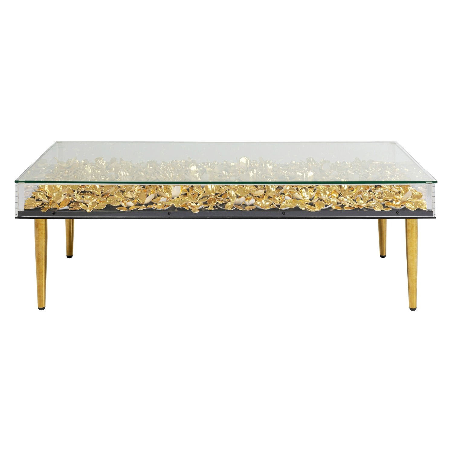 Kare Design Rektangulær Gold Flowers Sofabord - Klar Akryl Og Messing Stål (120X60) Dagligstue