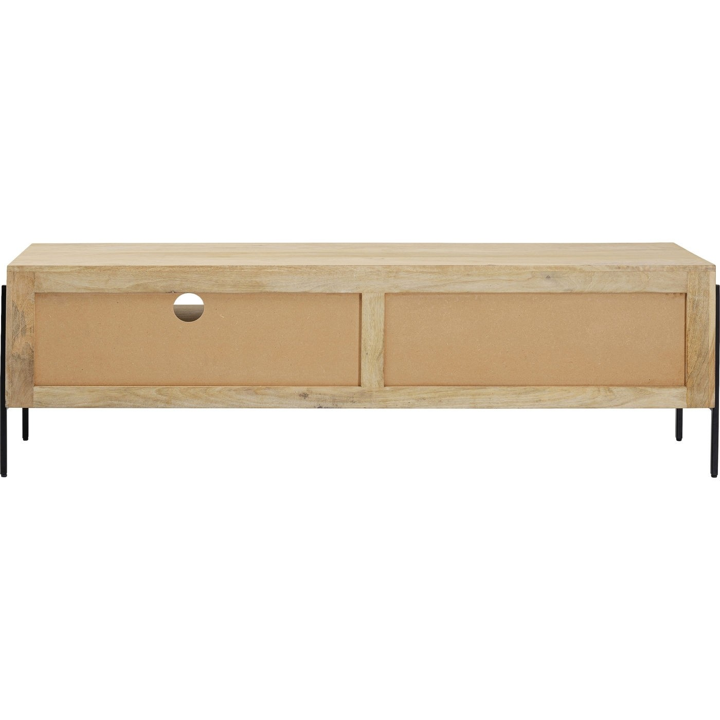 KARE DESIGN rektangulær Modena TV-bord, m. låge og skuffe - natur mangotræ og aluminium (160x40)