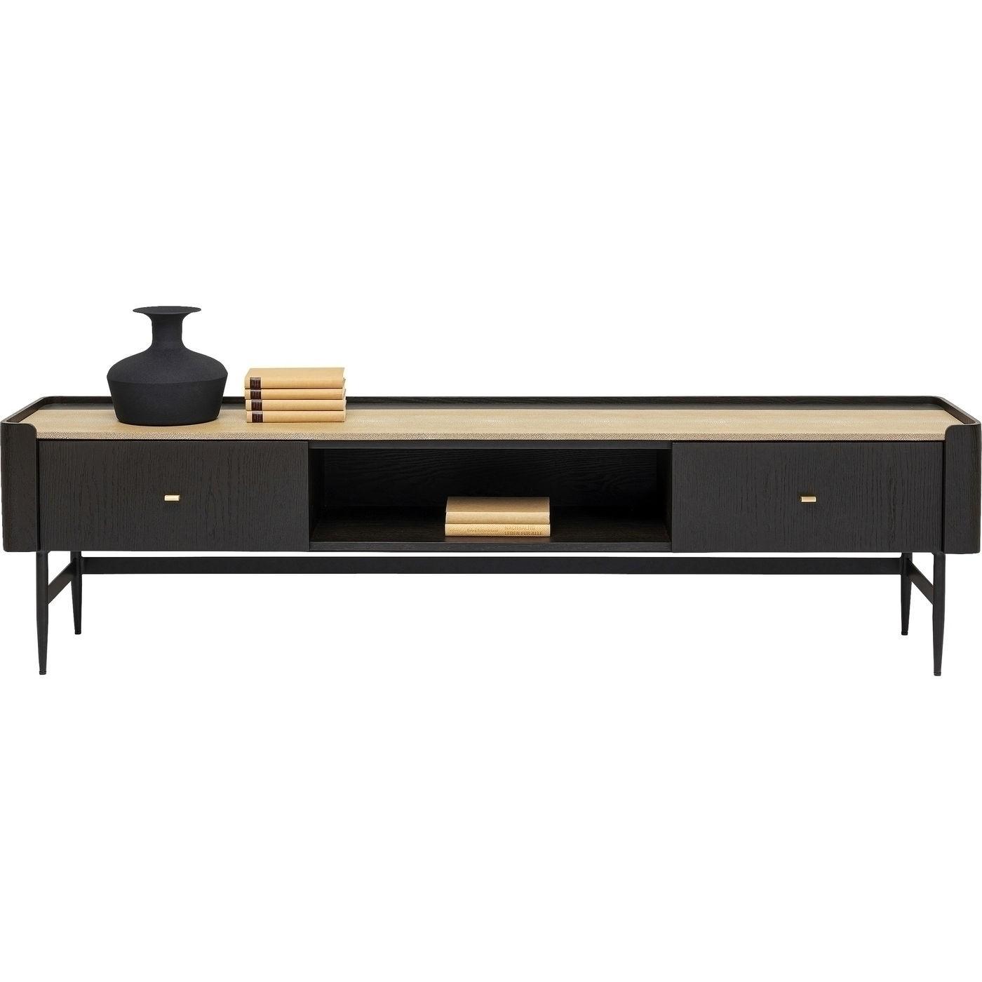 kare design – Kare design rektangulær milano tv-bord, m. 2 skuffer - natur, sort egetræsfiner og stål (200x40) på boboonline.dk