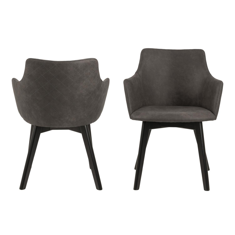 Køb ACT NORDIC Bella spisebordsstol m. armlæn – antracitgrå stof og sort egetræ