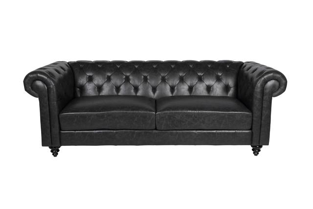Charlietown sofasæt - sort læder PU, 3 pers. + 2 pers.