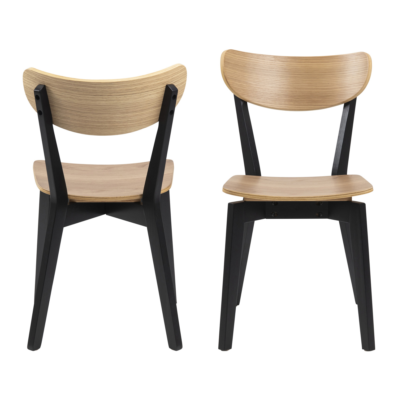 Roxby spisebordsstol - natur/sort egetræsfinér/gummitræ