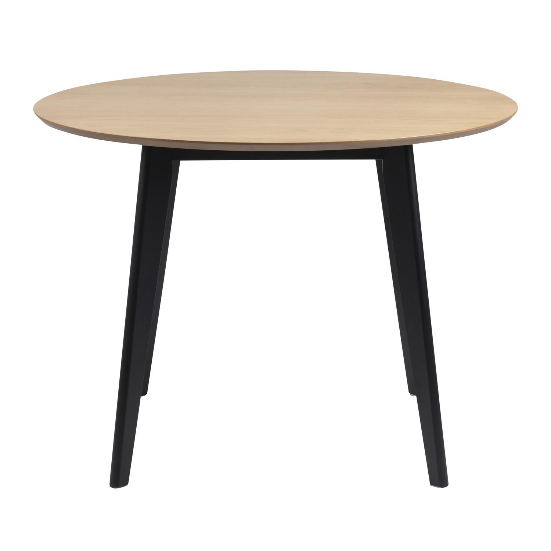 Roxby spisebord - natur/sort egetræsfinér/gummitræ, rund (Ø105)
