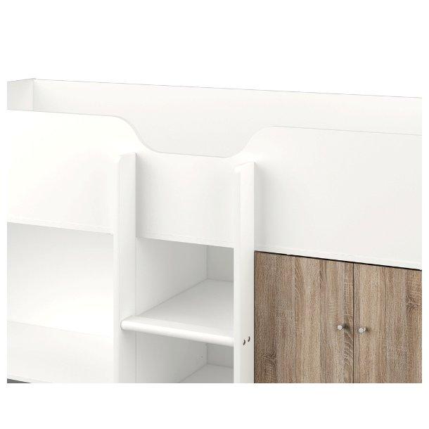 Lyon halvhøj seng med skabe, skuffer og skrivebord