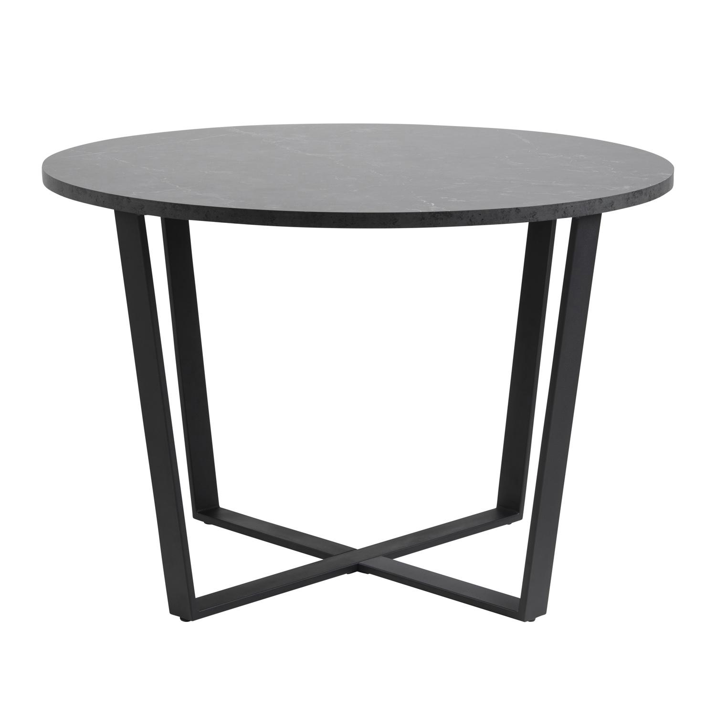 Amble rund spisebord - sort melamin og metal (Ø110)