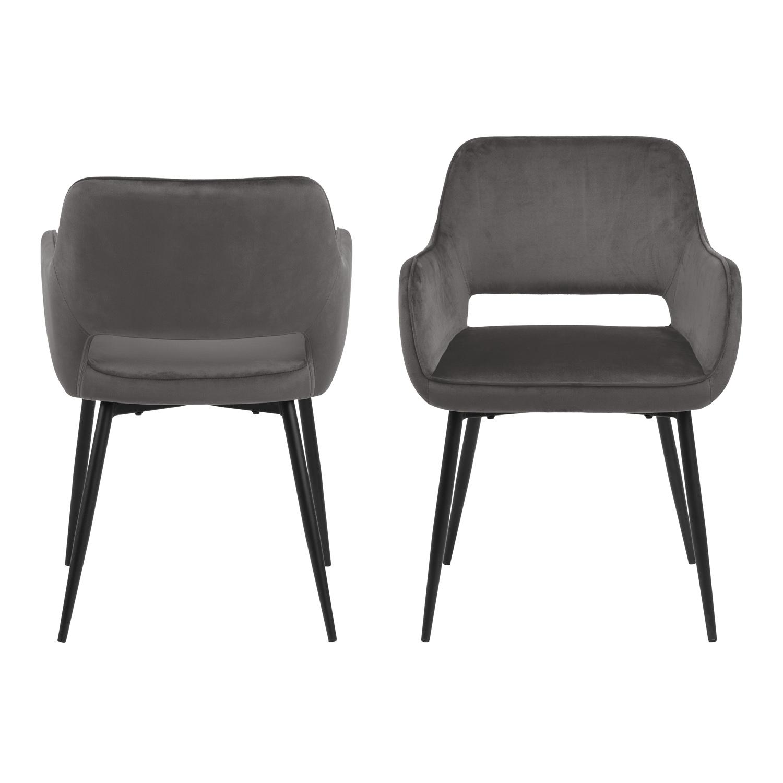 ACT NORDIC Ranja spisebordsstol - mørkegrå/sort stof/metal, m. armlæn