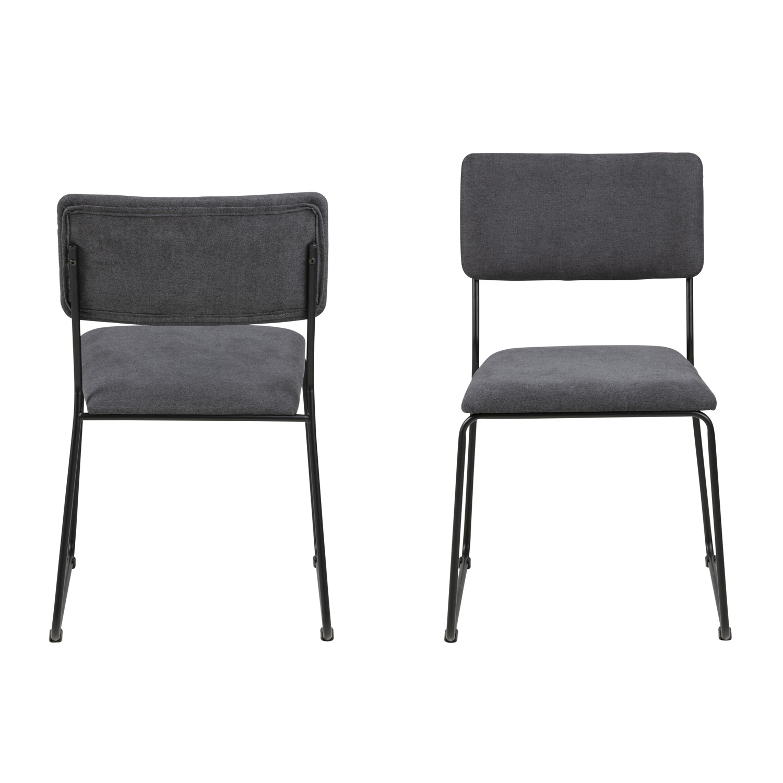 Cornelia spisebordsstol - stof og sort metal