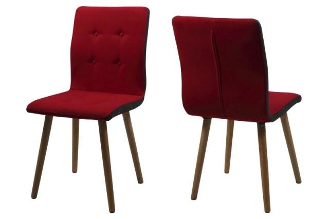 Image of   Frida spisebordsstol - rødt stof, træ stel