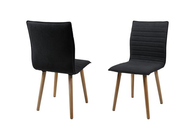 Karla spisebordsstol - mørkegråt stof, træ stel