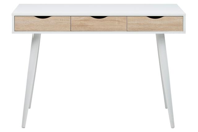 Neptun skrivebord med skuffer - hvid/eg struktur