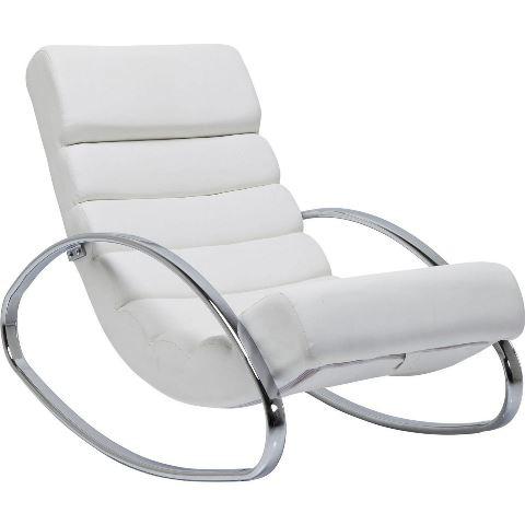 KARE DESIGN Manhattan Rocking lænestol – hvid læder PU